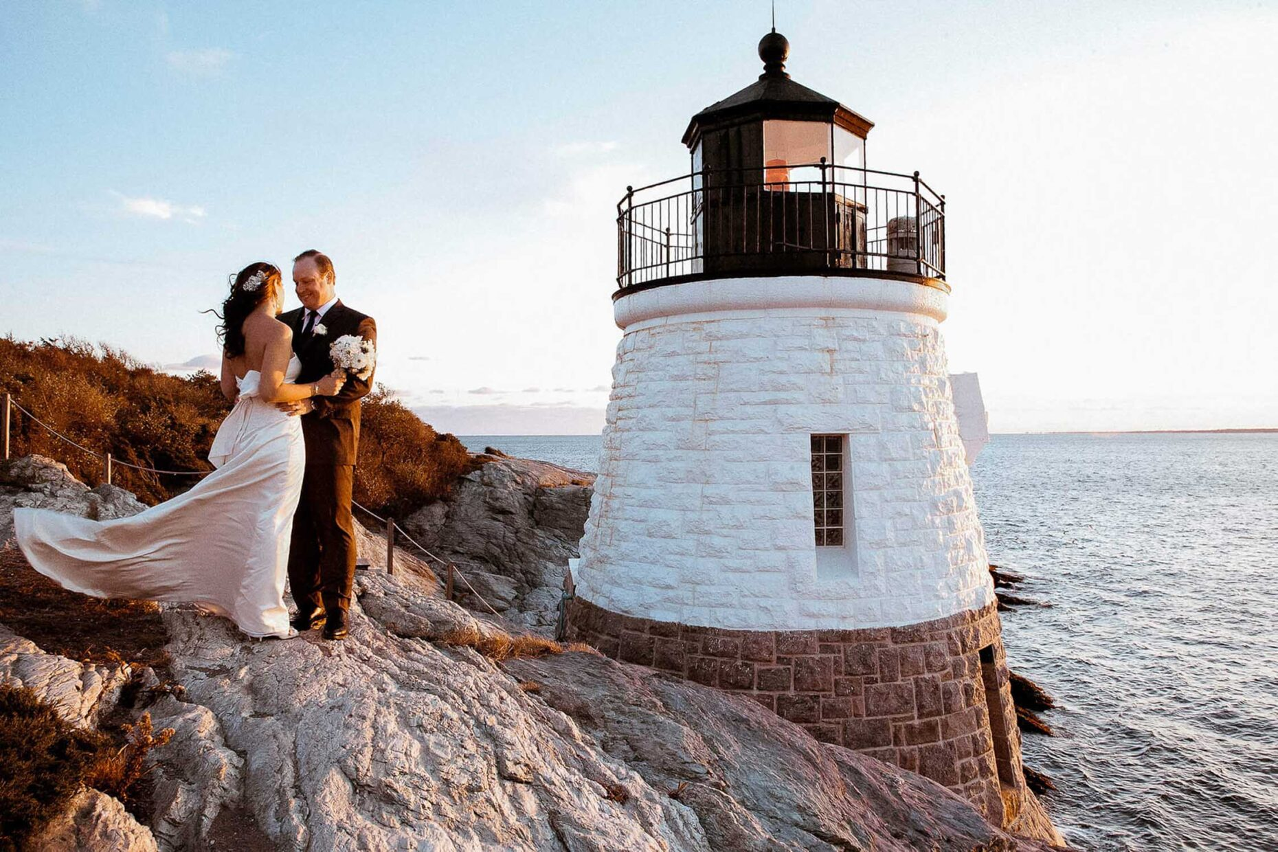 Wedding Couple by lighthouse