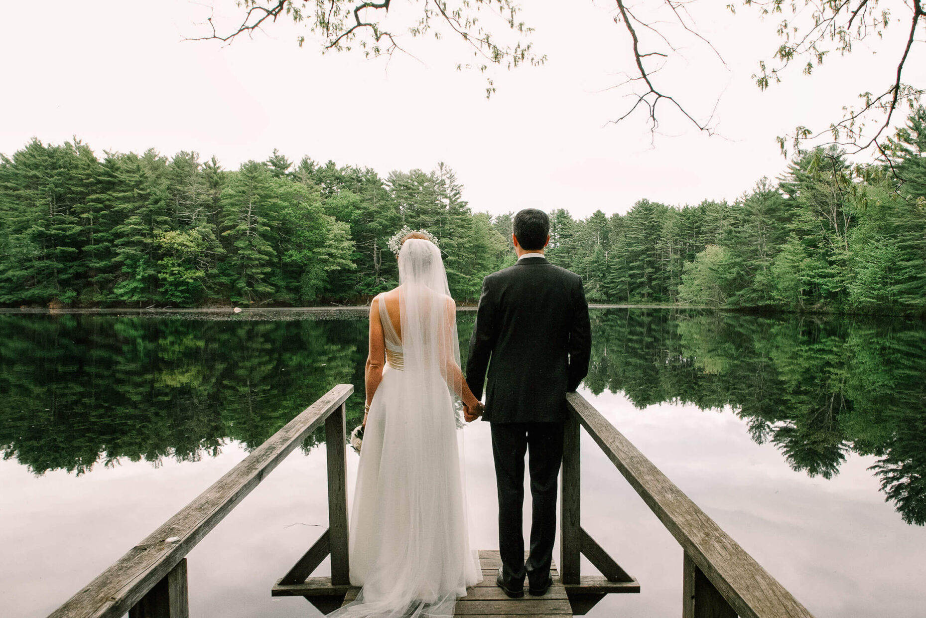 wedding couple by the lake