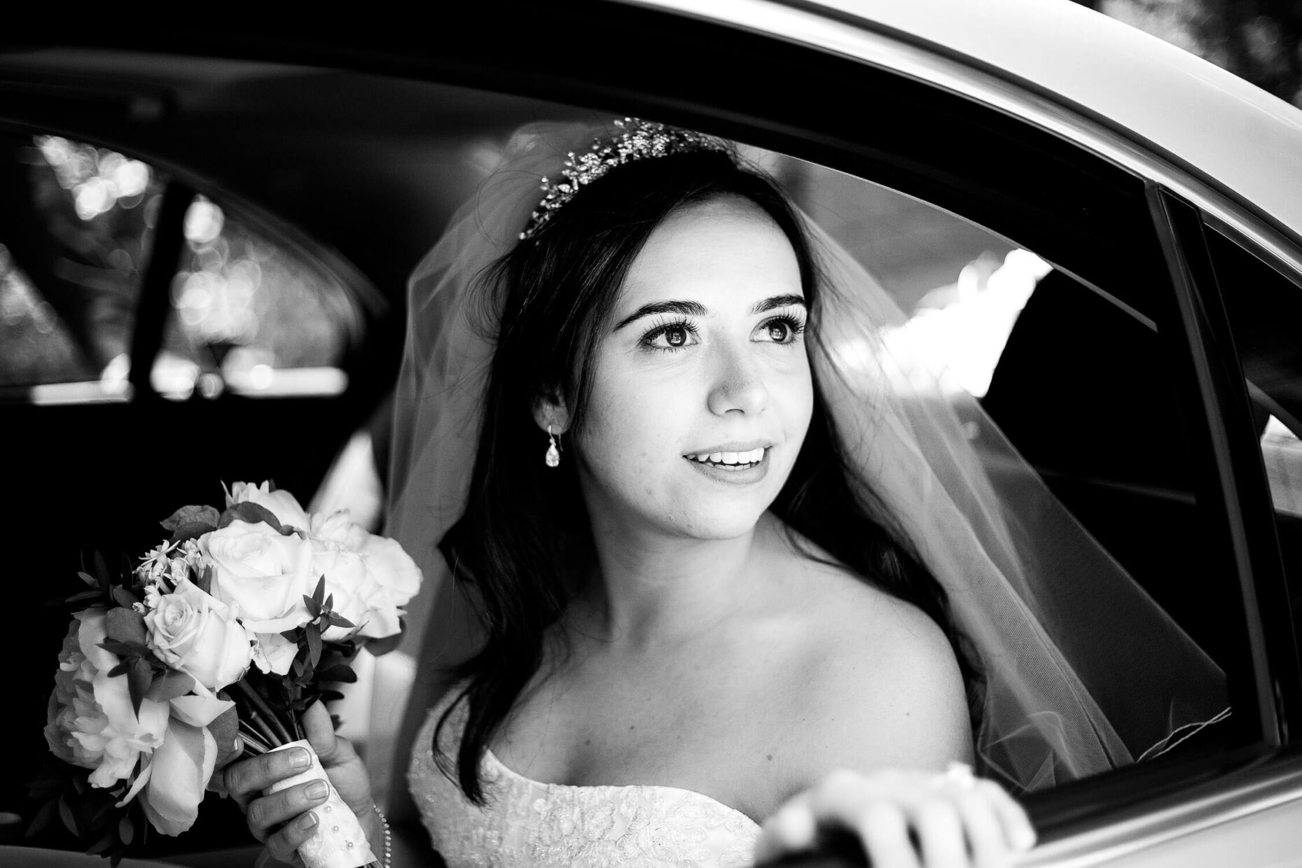 bride in car london wedding