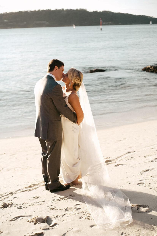 wedding couple on beach in Sydney Australia