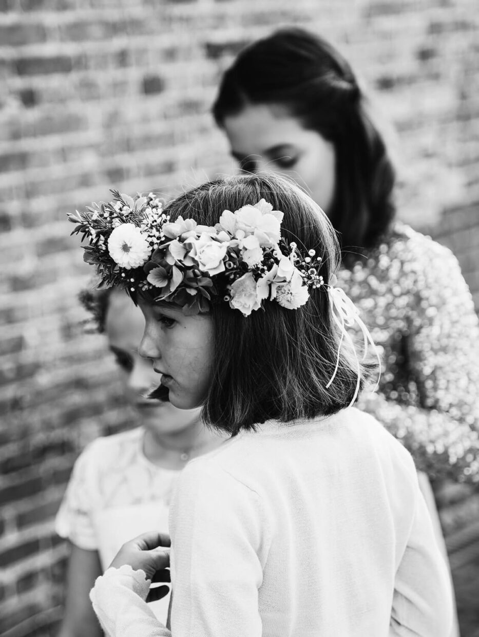 bridesmaids with floral crown